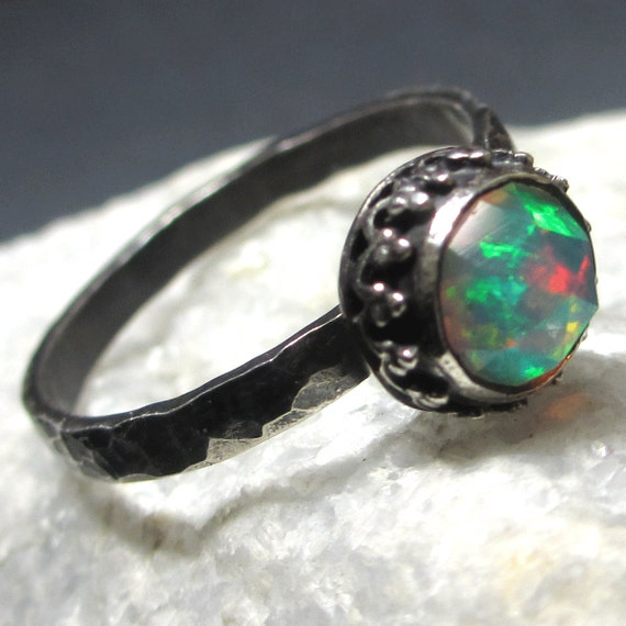 Natural Solid Rose Cut Opal Ring Sterling Silver