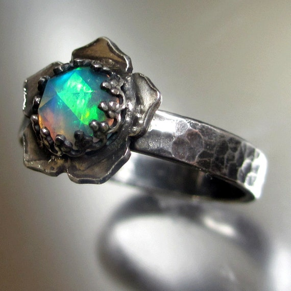 Items Similar To Opal Ring Exquisite Braided Opal: Items Similar To Natural Solid Rose Cut Opal Lotus Ring