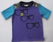SALE Bright eyes Size 2 OOAK upcycled tee