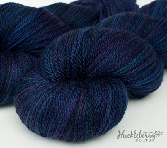 Handpainted blue and purple 80/10/10 MCN lace yarn, 4 oz: ECHO variation