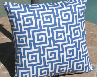 Outdoor Sea Blue and Off White Oskar Throw Pillow Cover- 14 inch