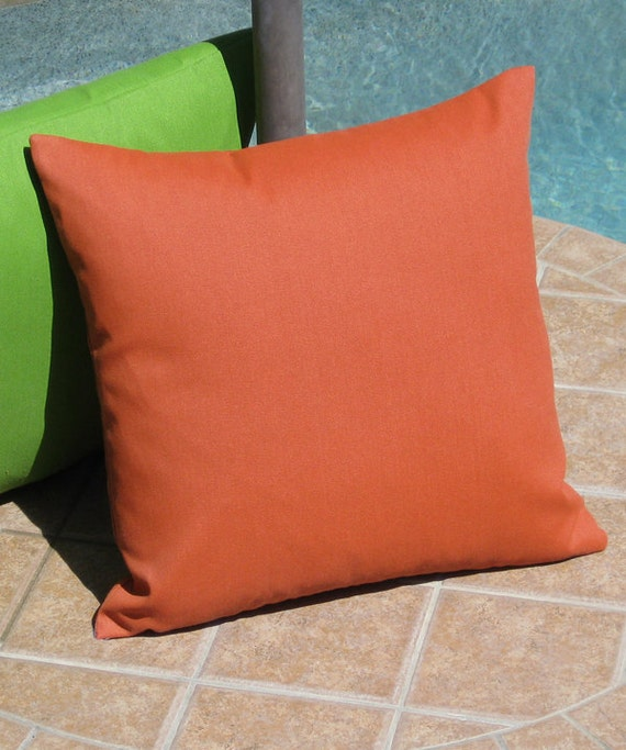 Outdoor Solid Terracotta Orange Throw Pillow Cover
