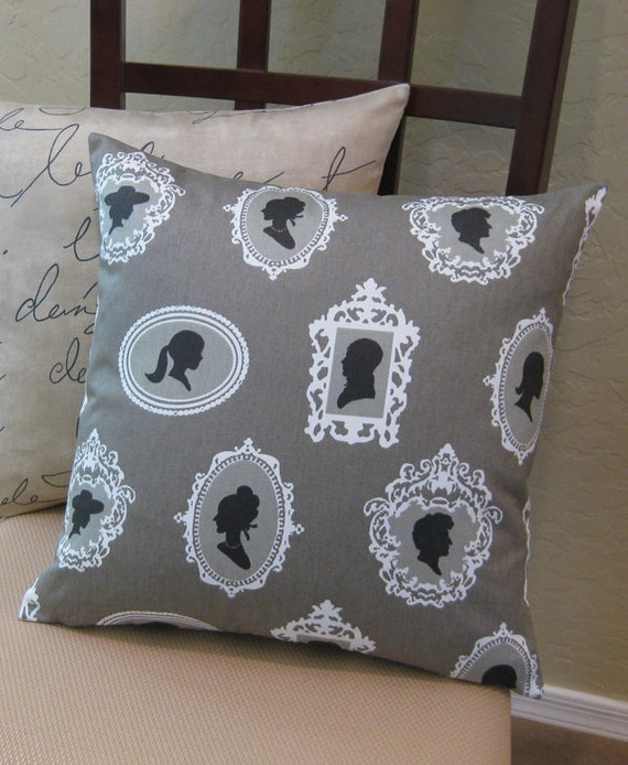 Black Silhouette Cameo Stone Gray Throw Pillow Cover
