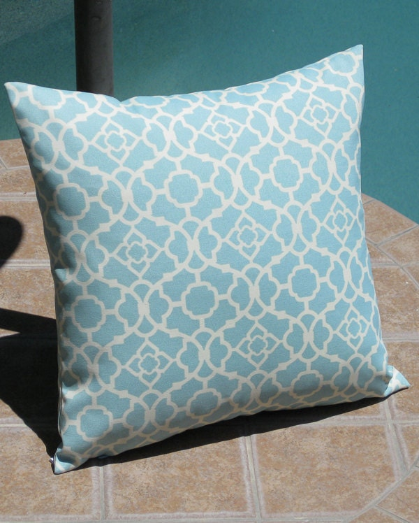 Light Blue Throw Pillow Covers : Outdoor Light Blue Lattice Throw Pillow Cover by PillowPeels
