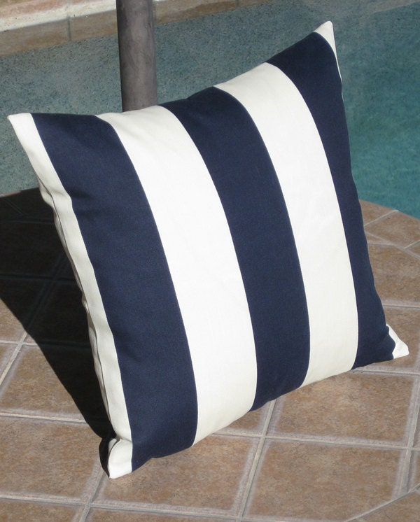 Outdoor Navy Blue and f White Stripe Throw Pillow by