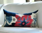 """13""""x25"""" Brunschwig Fils TWENTIES lumbar pillow cover in Azul - DESIGN """"C"""""""