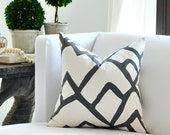 """20""""sq.  Schumacher ZIMBA pillow cover in Charcoal"""