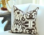 "20""sq. Quadrille ISLAND IKAT pillow cover in Brown on White"
