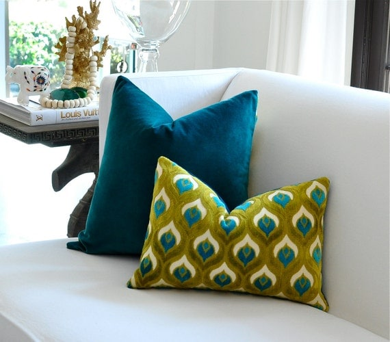 "LAST ONE - 12""x20"" Peacock Velvet pillow cover"