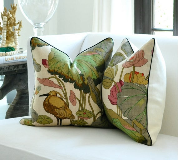 """PAIR of 20""""sq. GP J Baker NYMPHEUS pillow covers  in Biscuit/Taupe"""