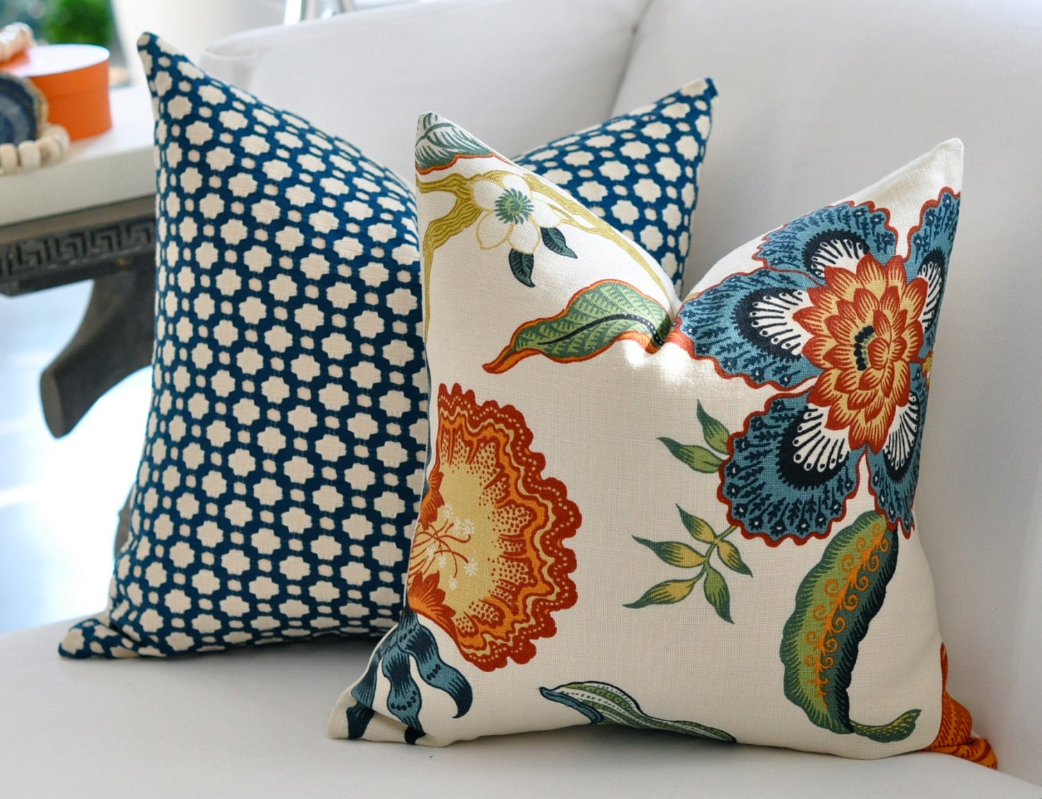 18x18 Hot House Flowers pillow cover in Spark
