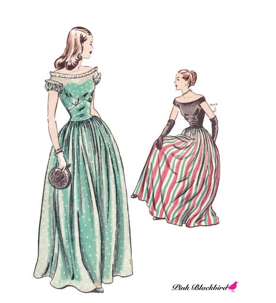 40s Vogue Evening Gown Sewing Pattern/  Vintage 1940s Vogue Evening Dress Sewing Pattern 5690