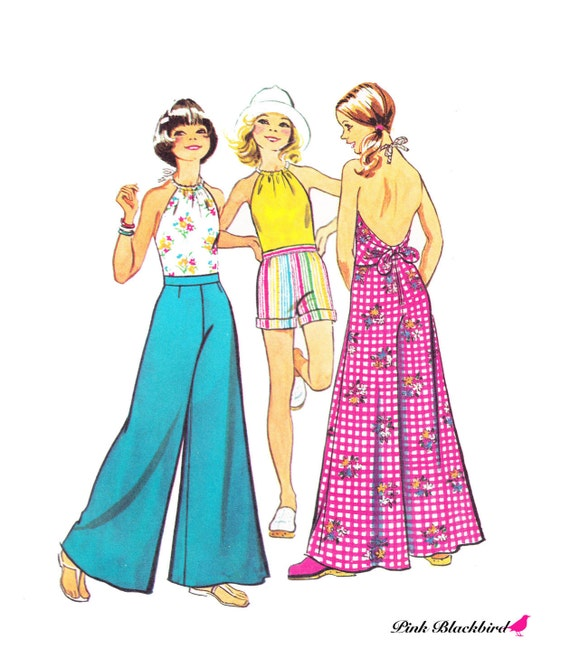 70s Super Wide Leg Flared Pants/ Vintage 1970s UNCUT Simplicity Girls Halter Top and Super Wide Leg Pants Sewing Pattern 5652/ Size 12