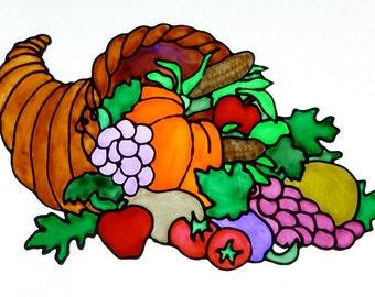 Cornucopia, horn of plenty, fruit, vegetables