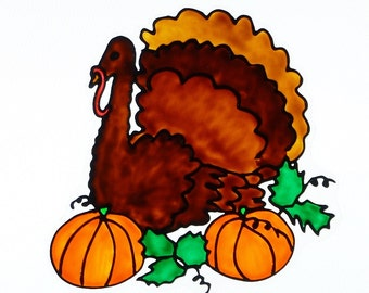 Thanksgiving turkey with pumpkins window cling, sun catcher