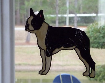 Boston Terrier window cling, suncatcher, faux stained glass, decal