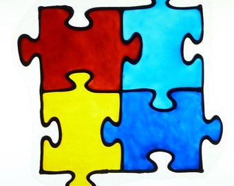 Autism  puzzle-window cling, suncatcher, faux stained glass, decal