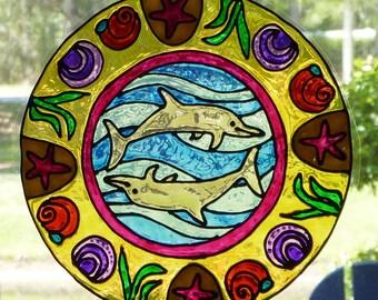 Dolphin, beach mandala window cling