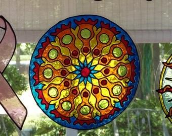Bright colors mandala window cling