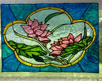 Pink Water Lilies  window cling