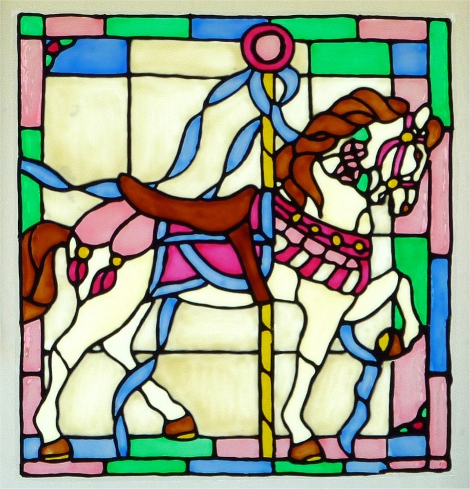 carousel horse window cling stained glass look. Black Bedroom Furniture Sets. Home Design Ideas