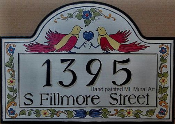Custom House Address Signs  w. Birds, Personalized  Wooden Name Plaques