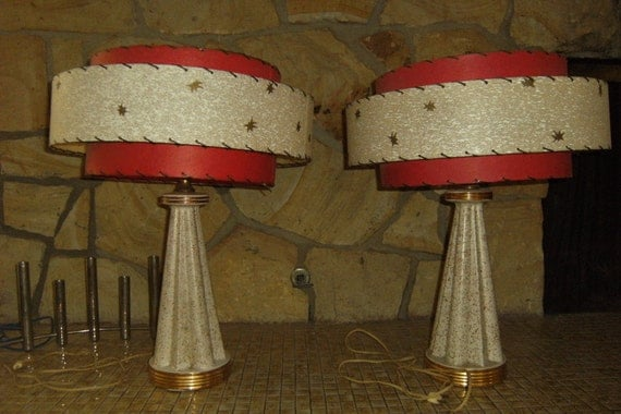 1950 S Ceramic Atomic Era Vintage Pair Of Lamps With Fiber