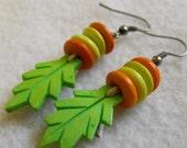 Bright Green Fall Leaf Earrings