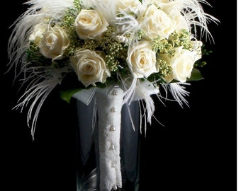 Bridal White Rose Wispy Bridal Bouquet