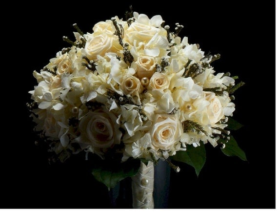 Bridal Champagne Rose and Pearls Romance Bouquet