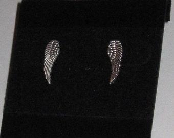 Silver Post Angel Wing Stud Earrings