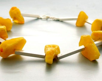 yellow amber and silver necklace, choker