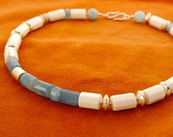 aquamarine, white coral and silver necklace choker
