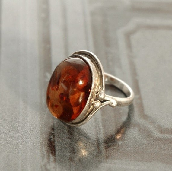 amber and silver ring, size 8