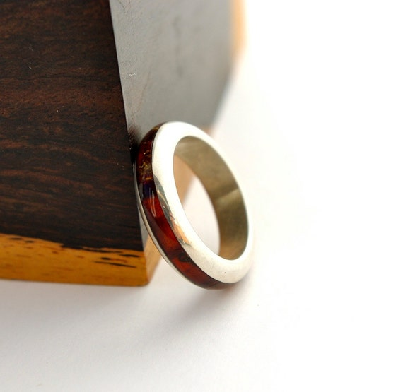 Amber and Sterling Silver band ring, size 7
