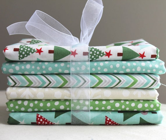 Mint and Snow FQ Bundle - Joy by Kate Spain for Moda - Set of 6 - 1.5 Yards Total