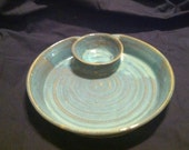 SALE-----Light Green Off Center Chip and Dip Bowl