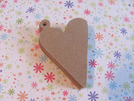 Kraft brown heart charm tags