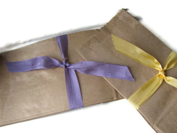 """50 Penny Candy Bags Kraft Brown Paper - 1/2 pound size - 1/2 lb - Mini/Small - 3 x 1 7/8 x 6 1/4"""" - SOS - 3 x 2 x 6.25"""" - Grocery Bags"""