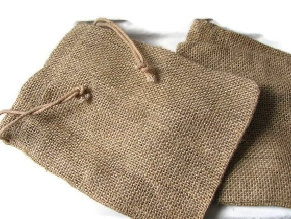 "Jute - Burlap Drawstring Bags / Pouches - Medium 5 x 7"" size - Set of 6 - Gift Bags / Favor Bags / Natural"