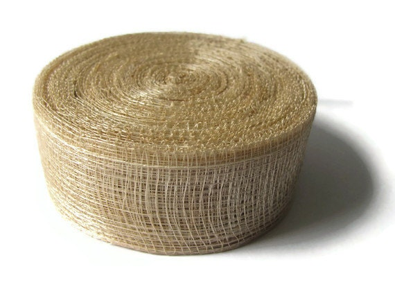 """CLEARANCE SALE - Sinamay Plant Fiber Mesh Ribbon - 25 Yard Roll - Natural Color - 1.5"""" Wide - 1 1/2"""" - Sustainable - Distant Village"""