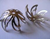 Vintage Style Antique Rhodium plated Leafy Flower Bead Caps 20 pcs