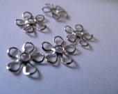 Vintage Style Rhodium Plated 8mm Flowery  Bead Caps 20 pcs