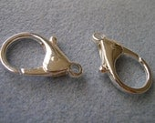 Extra Large Lobster Claw clasps Silver Plated 26mm X 36mm 2 pcs