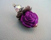 BD67 vintage Style pendant dangle carved Purple Acrylic Rose Bead  1 pc