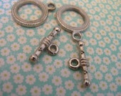 Large 17mm Antique Silver Plated Toggle clasps 2 sets