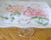 Cupcake Pedestal/Treat Stand Vintage Inspired Roses