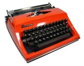 Reserved for LadyMeg: Vintage CURSIVE Adler Contessa Bright Orange Manual Typewriter