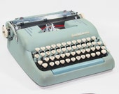 Robin's Egg Blue Smith-Corona Manual Typewriter with Accessories
