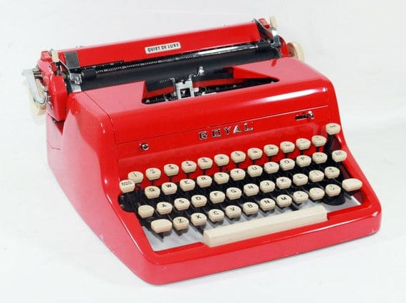 Royal Quiet DeLuxe Cherry Red Manual Typewriter in Case